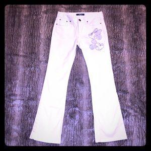 NWOT Rare Disney White Silver Boot cut jeans 24